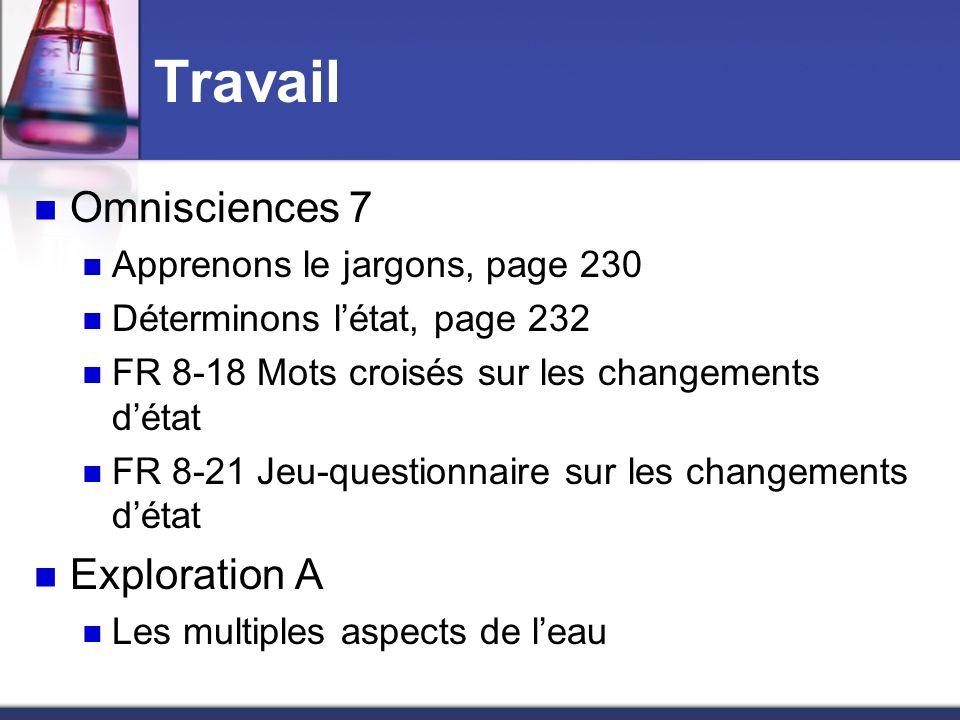 Travail Omnisciences 7 Apprenons le jargons, page 230 Déterminons létat, page 232 FR 8-18 Mots croisés sur les changements détat FR 8-21 Jeu-questionn