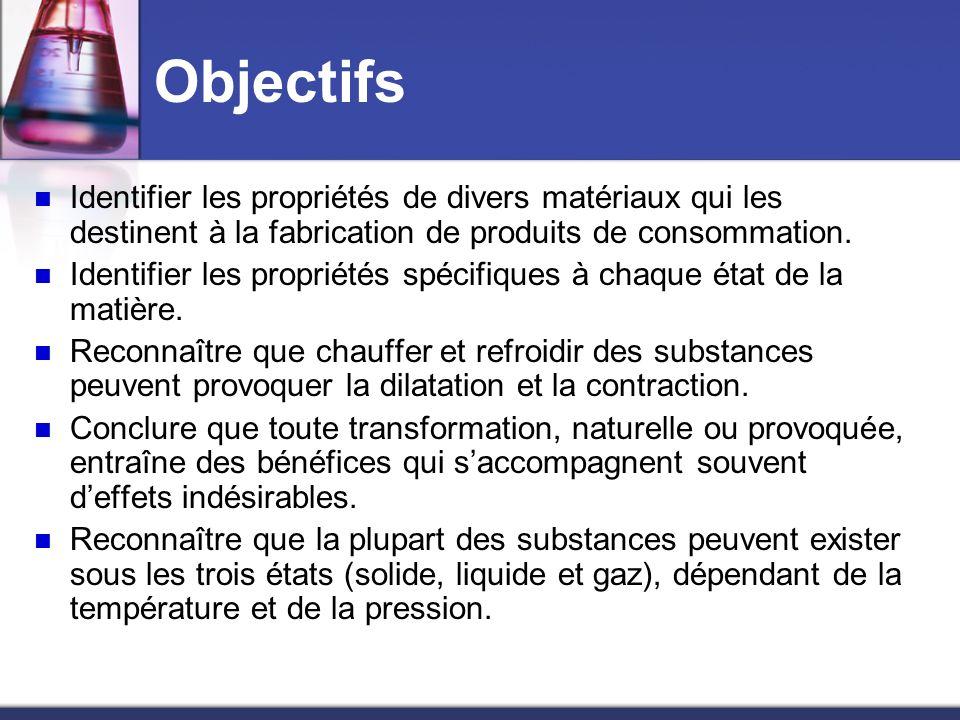 Objectifs Identifier les propriétés de divers matériaux qui les destinent à la fabrication de produits de consommation. Identifier les propriétés spéc