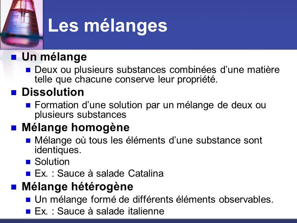 Les mélanges Un mélange Deux ou plusieurs substances combinées dune matière telle que chacune conserve leur propriété. Dissolution Formation dune solu