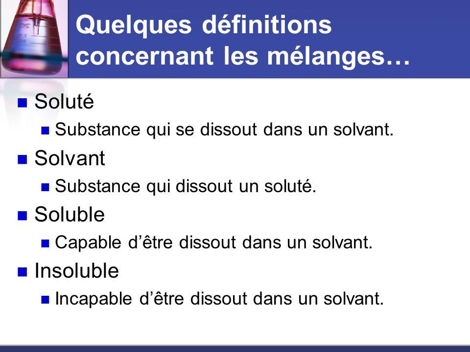 Quelques définitions concernant les mélanges… Soluté Substance qui se dissout dans un solvant. Solvant Substance qui dissout un soluté. Soluble Capabl