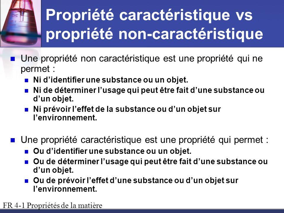 Propriété caractéristique vs propriété non-caractéristique Une propriété non caractéristique est une propriété qui ne permet : Ni didentifier une subs
