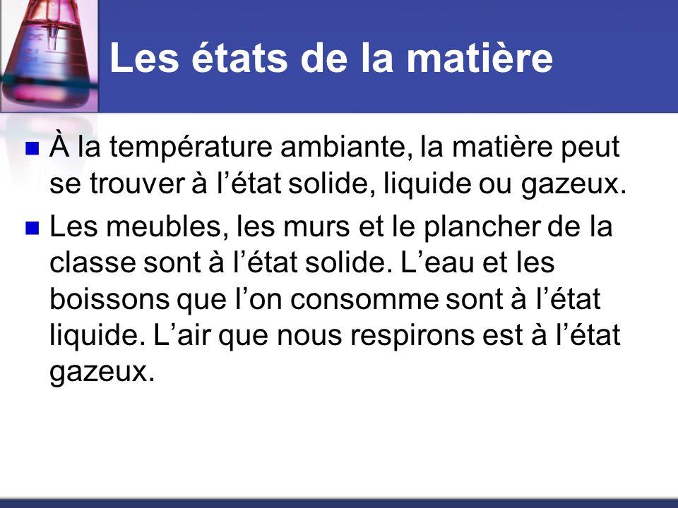 Les états de la matière À la température ambiante, la matière peut se trouver à létat solide, liquide ou gazeux. Les meubles, les murs et le plancher