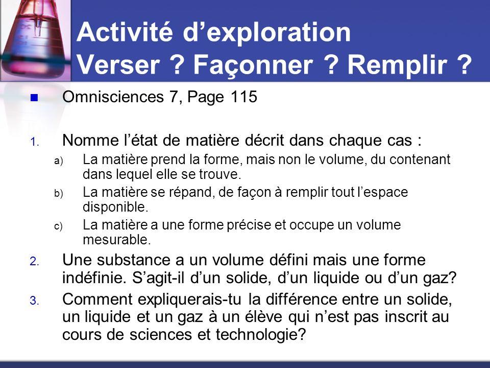 Activité dexploration Verser ? Façonner ? Remplir ? Omnisciences 7, Page 115 1. Nomme létat de matière décrit dans chaque cas : a) La matière prend la