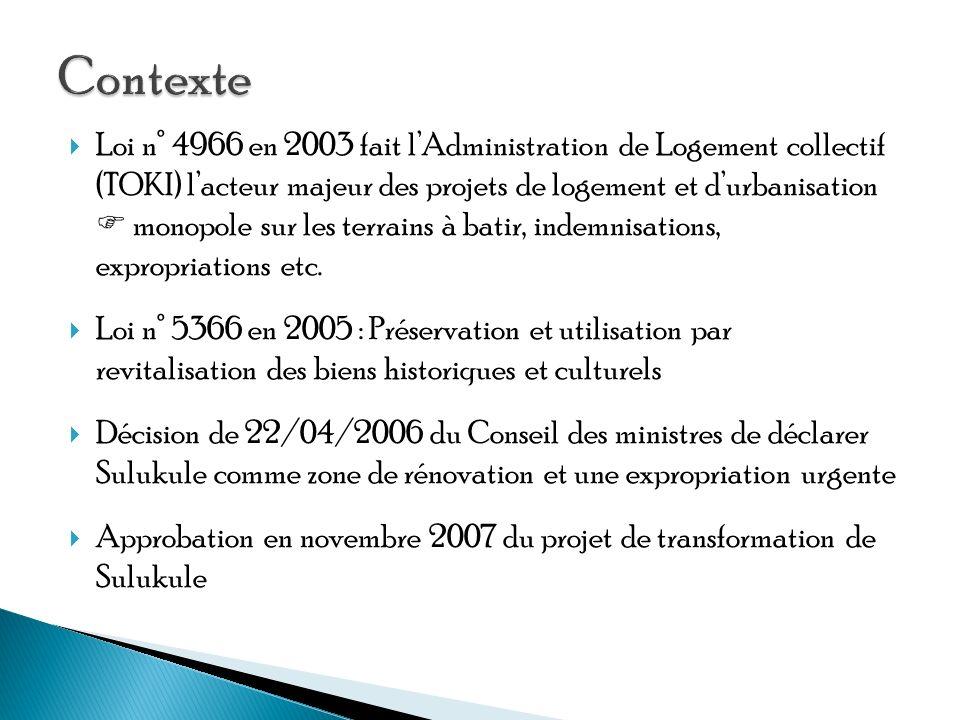 Loi n° 4966 en 2003 fait lAdministration de Logement collectif (TOKI) lacteur majeur des projets de logement et durbanisation monopole sur les terrains à batir, indemnisations, expropriations etc.