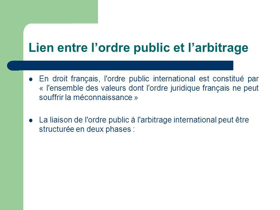 Lien entre lordre public et larbitrage En droit français, l'ordre public international est constitué par « l'ensemble des valeurs dont l'ordre juridiq