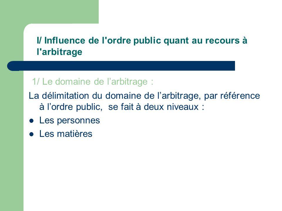 1/ Le domaine de larbitrage : La délimitation du domaine de larbitrage, par référence à lordre public, se fait à deux niveaux : Les personnes Les mati