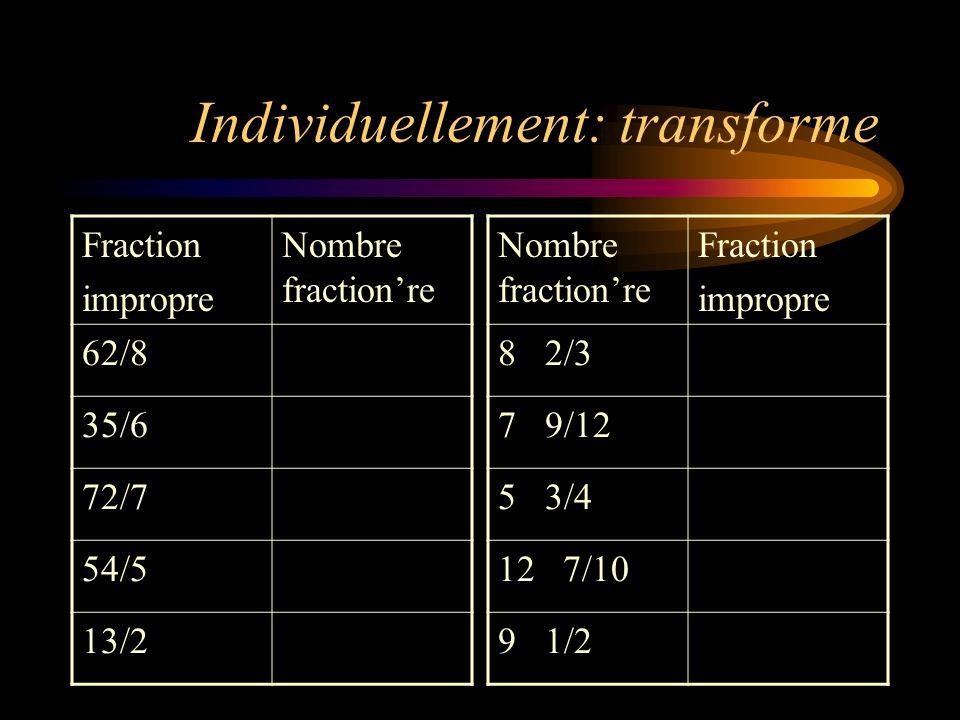 Individuellement: transforme Fraction impropre Nombre fractionre 62/8 35/6 72/7 54/5 13/2 Nombre fractionre Fraction impropre 8 2/3 7 9/12 5 3/4 12 7/