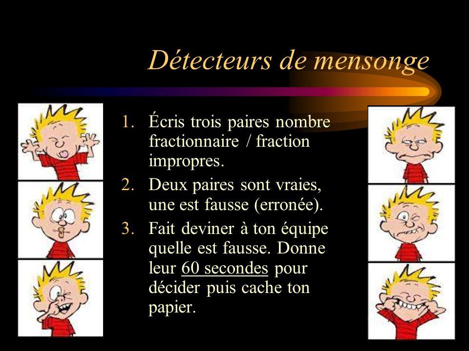 Détecteurs de mensonge 1.Écris trois paires nombre fractionnaire / fraction impropres. 2.Deux paires sont vraies, une est fausse (erronée). 3.Fait dev