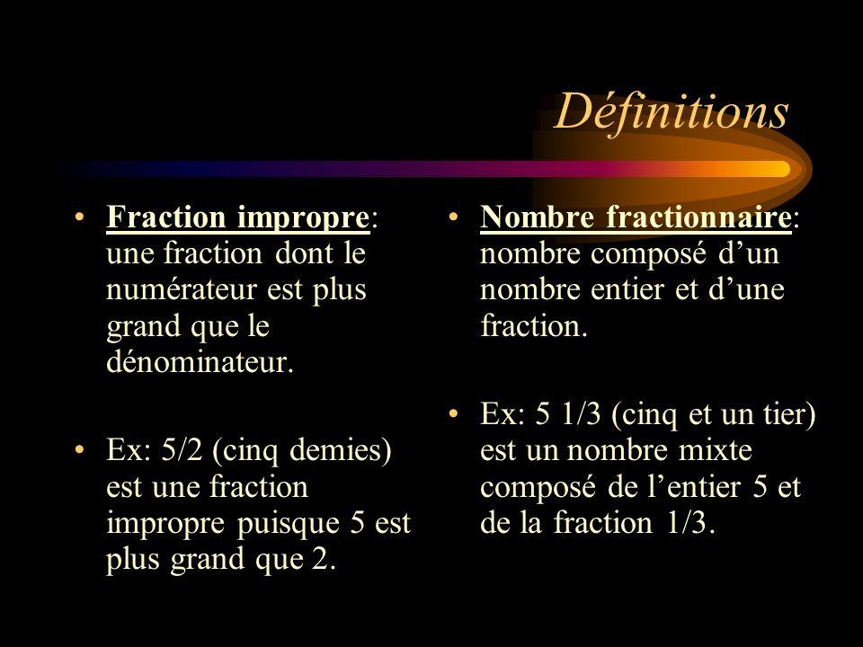 Définitions Fraction impropre: une fraction dont le numérateur est plus grand que le dénominateur. Ex: 5/2 (cinq demies) est une fraction impropre pui
