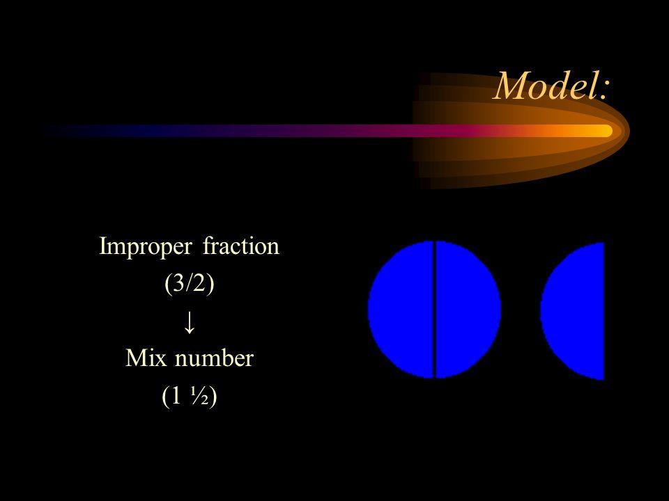 Model: Improper fraction (3/2) Mix number (1 ½)