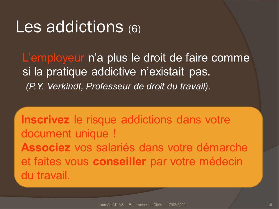 Les addictions (6) Lemployeur na plus le droit de faire comme si la pratique addictive nexistait pas. (P.Y. Verkindt, Professeur de droit du travail).