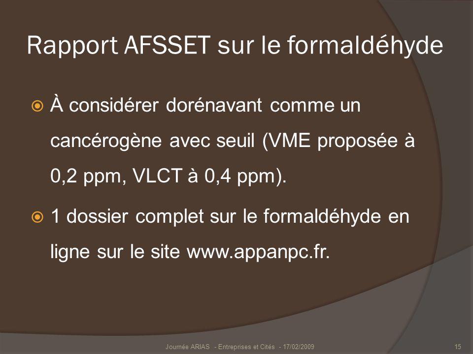 Rapport AFSSET sur le formaldéhyde À considérer dorénavant comme un cancérogène avec seuil (VME proposée à 0,2 ppm, VLCT à 0,4 ppm). 1 dossier complet