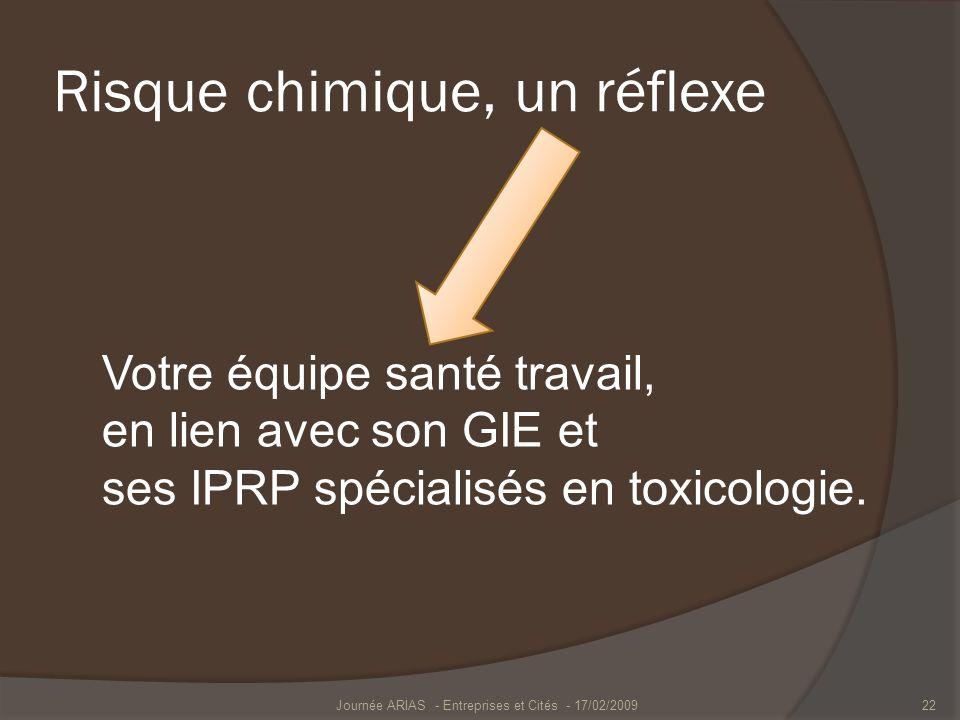 Risque chimique, un réflexe Votre équipe santé travail, en lien avec son GIE et ses IPRP spécialisés en toxicologie. Journée ARIAS - Entreprises et Ci