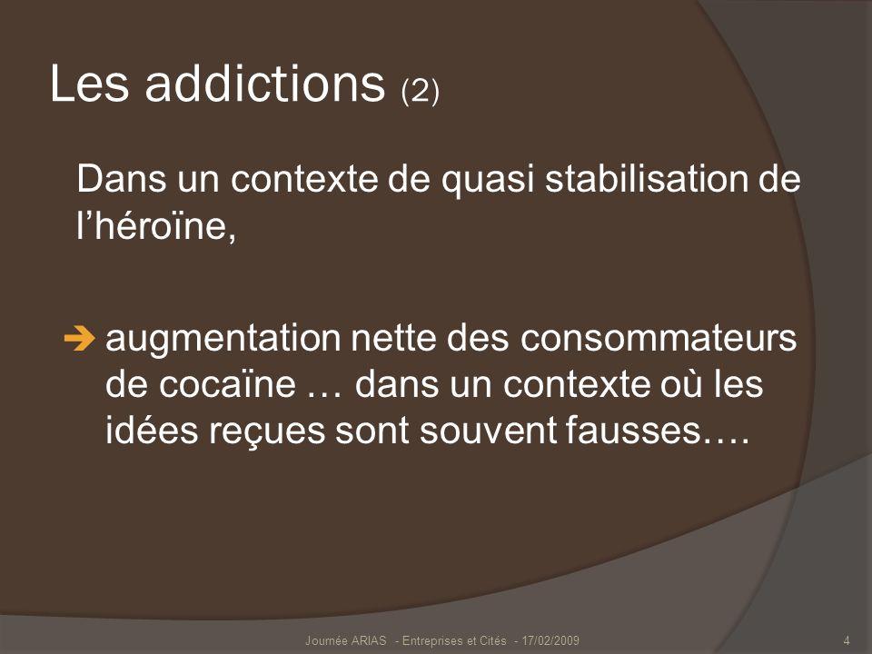 Les addictions (2) Dans un contexte de quasi stabilisation de lhéroïne, augmentation nette des consommateurs de cocaïne … dans un contexte où les idée