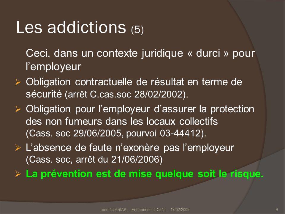 Les addictions (5) Ceci, dans un contexte juridique « durci » pour lemployeur Obligation contractuelle de résultat en terme de sécurité (arrêt C.cas.s