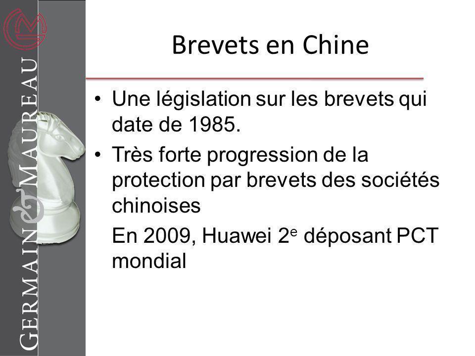 Brevets en Chine Une législation sur les brevets qui date de 1985. Très forte progression de la protection par brevets des sociétés chinoises En 2009,