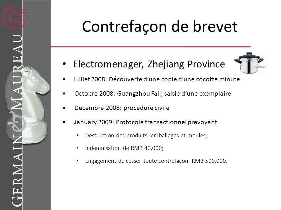 Contrefaçon de brevet Electromenager, Zhejiang Province Juillet 2008: Découverte dune copie dune cocotte minute Octobre 2008: Guangzhou Fair, saisie d