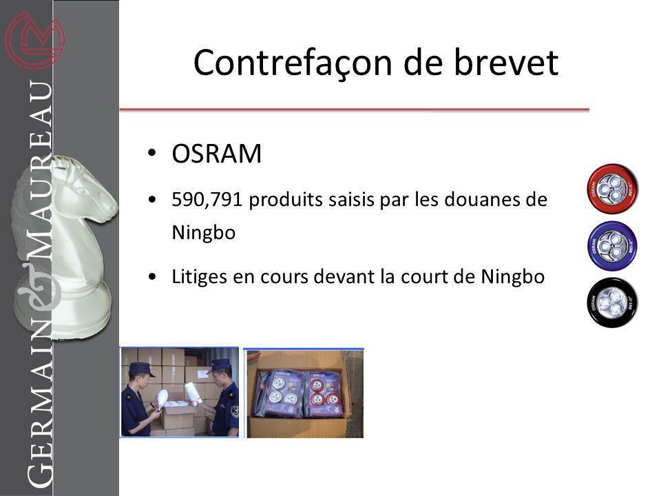 Contrefaçon de brevet OSRAM 590,791 produits saisis par les douanes de Ningbo Litiges en cours devant la court de Ningbo