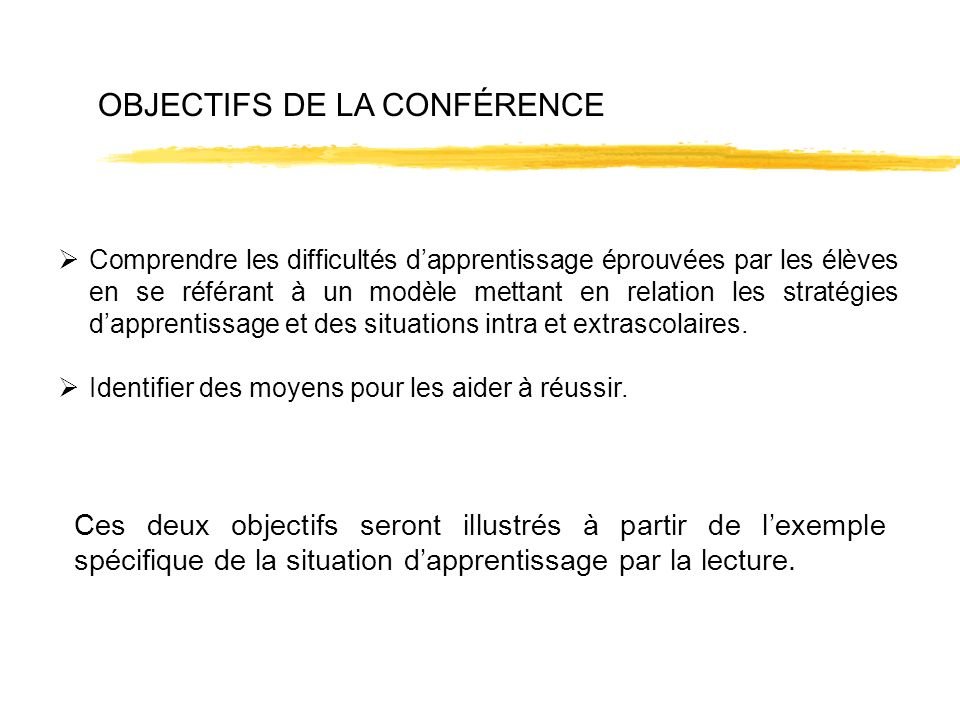 Ces deux objectifs seront illustrés à partir de lexemple spécifique de la situation dapprentissage par la lecture. Comprendre les difficultés dapprent