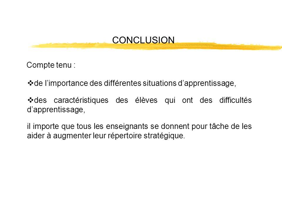 CONCLUSION Compte tenu : de limportance des différentes situations dapprentissage, des caractéristiques des élèves qui ont des difficultés dapprentiss