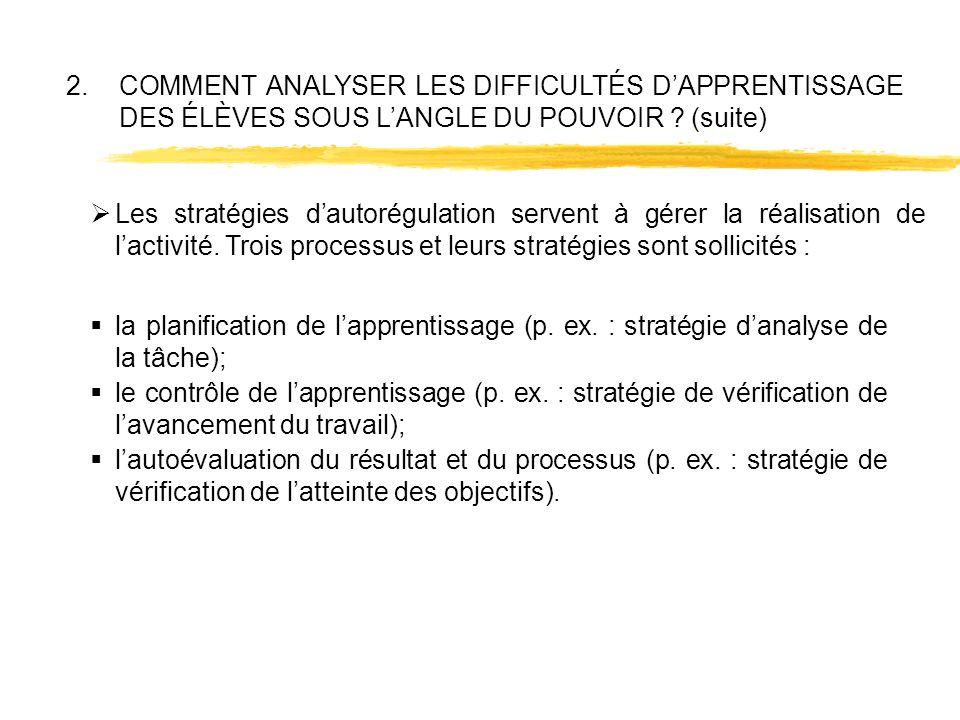 2.COMMENT ANALYSER LES DIFFICULTÉS DAPPRENTISSAGE DES ÉLÈVES SOUS LANGLE DU POUVOIR ? (suite) la planification de lapprentissage (p. ex. : stratégie d