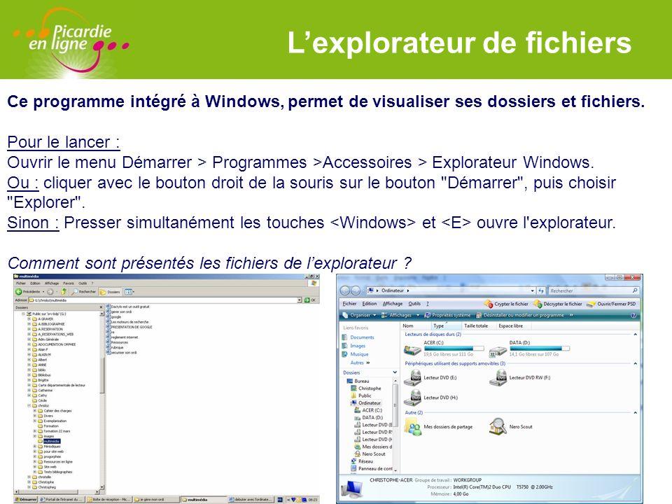 LOGO 27/11/2007 Lexplorateur de fichiers Ce programme intégré à Windows, permet de visualiser ses dossiers et fichiers. Pour le lancer : Ouvrir le men