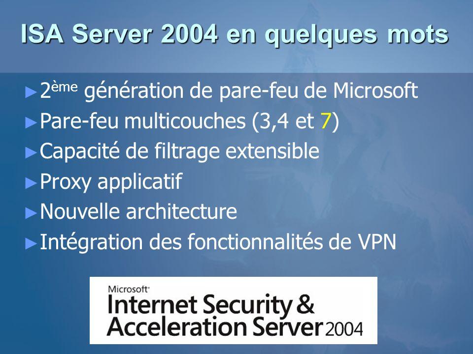 2 ème génération de pare-feu de Microsoft Pare-feu multicouches (3,4 et 7) Capacité de filtrage extensible Proxy applicatif Nouvelle architecture Inté
