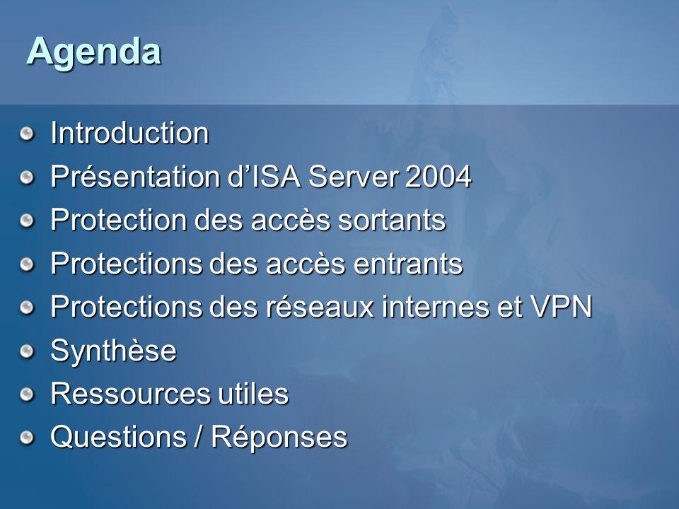 Agenda Introduction Présentation dISA Server 2004 Protection des accès sortants Protections des accès entrants Protections des réseaux internes et VPN