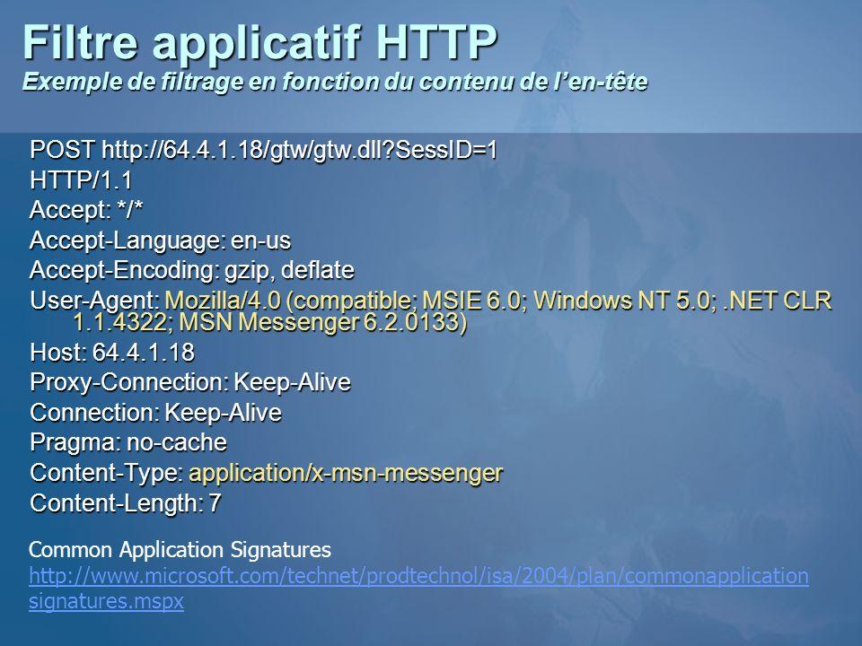 Filtre applicatif HTTP Exemple de filtrage en fonction du contenu de len-tête POST http://64.4.1.18/gtw/gtw.dll?SessID=1 HTTP/1.1 Accept: */* Accept-L