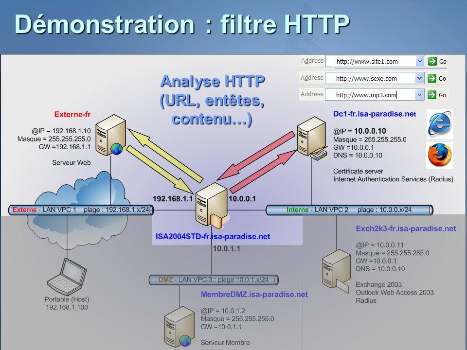 Démonstration : filtre HTTP Analyse HTTP (URL, entêtes, contenu…)