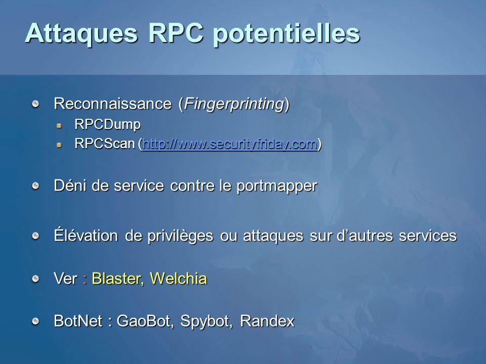 Attaques RPC potentielles Reconnaissance (Fingerprinting) RPCDump RPCScan (http://www.securityfriday.com) http://www.securityfriday.com Déni de servic