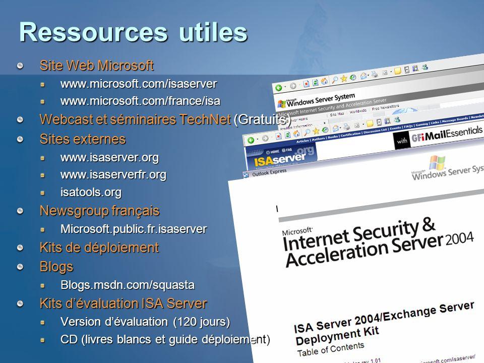 Ressources utiles Site Web Microsoft www.microsoft.com/isaserverwww.microsoft.com/france/isa Webcast et séminaires TechNet (Gratuits) Sites externes w