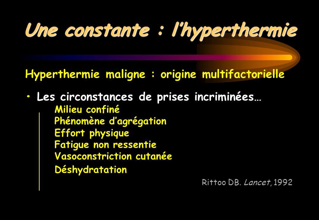 Hyperthermie maligne : origine multifactorielle Les circonstances de prises incriminées… Milieu confiné Phénomène dagrégation Effort physique Fatigue