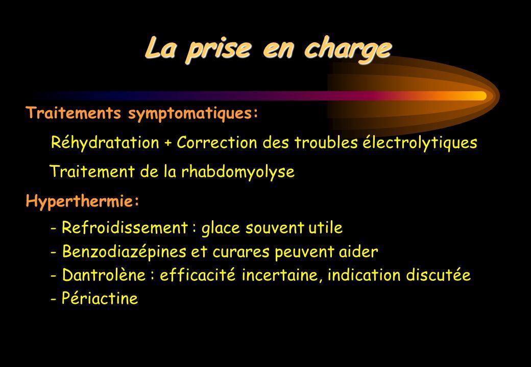 La prise en charge Traitements symptomatiques: Réhydratation + Correction des troubles électrolytiques Traitement de la rhabdomyolyse Hyperthermie: -