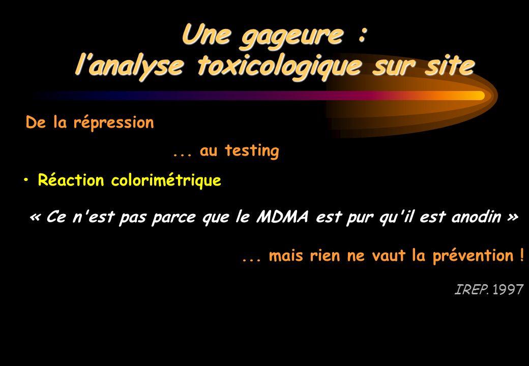Une gageure : lanalyse toxicologique sur site Réaction colorimétrique « Ce n'est pas parce que le MDMA est pur qu'il est anodin »... mais rien ne vaut