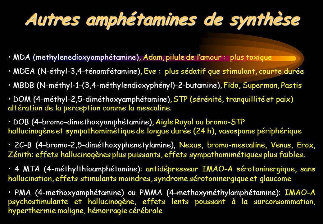 Autres amphétamines de synthèse MDA (methylenedioxyamphétamine), Adam, pilule de lamour : plus toxique MDEA (N-éthyl-3,4-ténamfétamine), Eve : plus sé