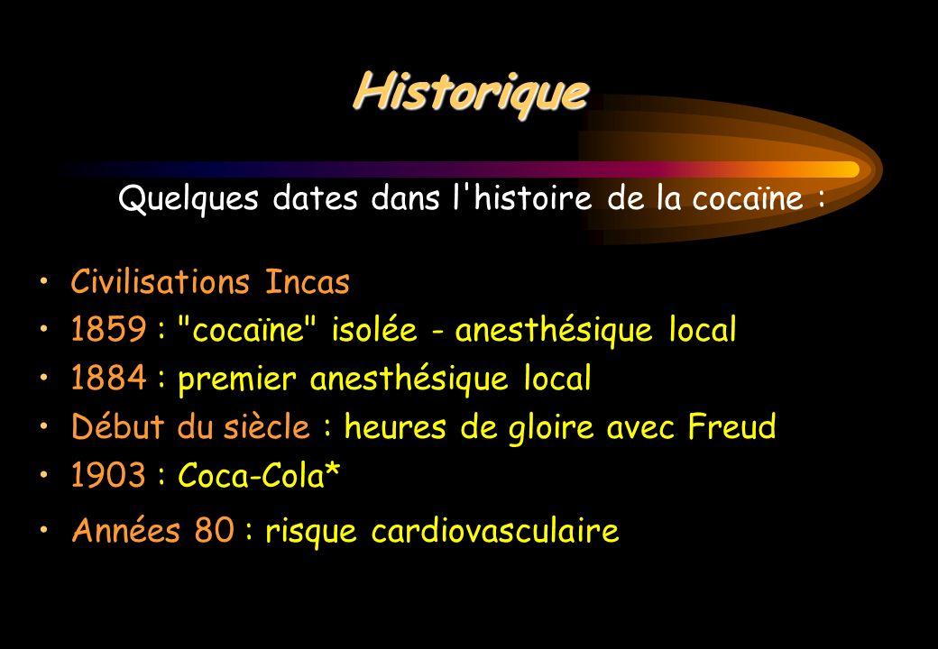 Historique Quelques dates dans l'histoire de la cocaïne : Civilisations Incas 1859 :