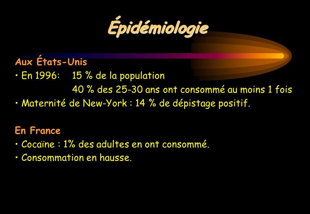 Épidémiologie Aux États-Unis En 1996: 15 % de la population 40 % des 25-30 ans ont consommé au moins 1 fois Maternité de New-York : 14 % de dépistage