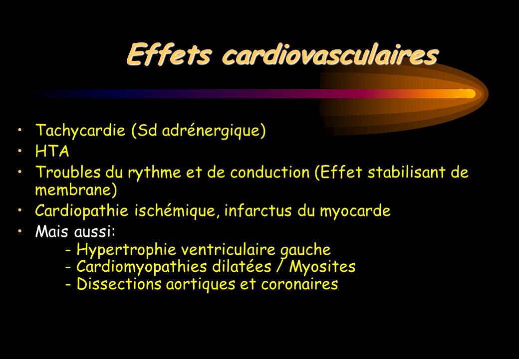 Effets cardiovasculaires Tachycardie (Sd adrénergique) HTA Troubles du rythme et de conduction (Effet stabilisant de membrane) Cardiopathie ischémique