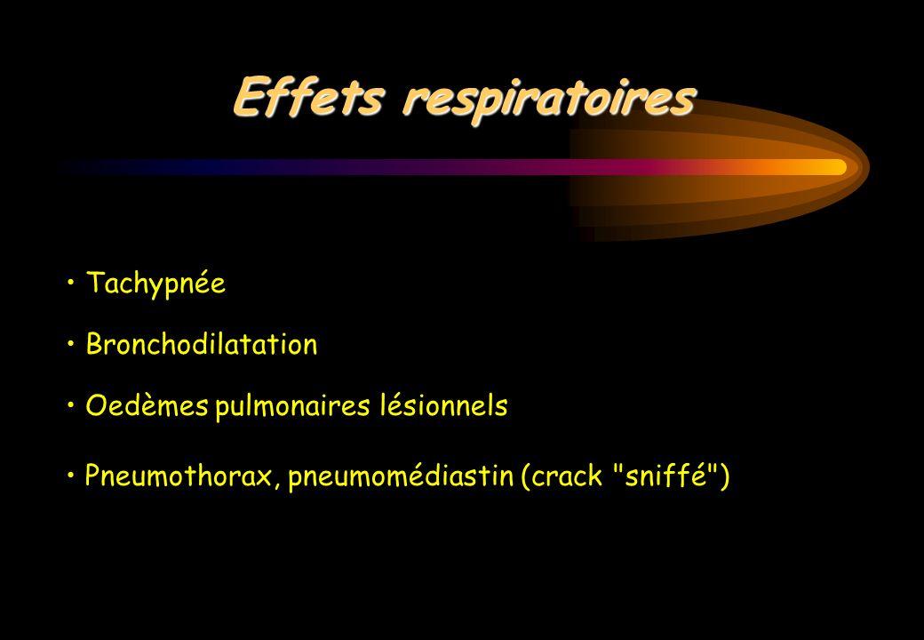 Effets respiratoires Tachypnée Bronchodilatation Oedèmes pulmonaires lésionnels Pneumothorax, pneumomédiastin (crack