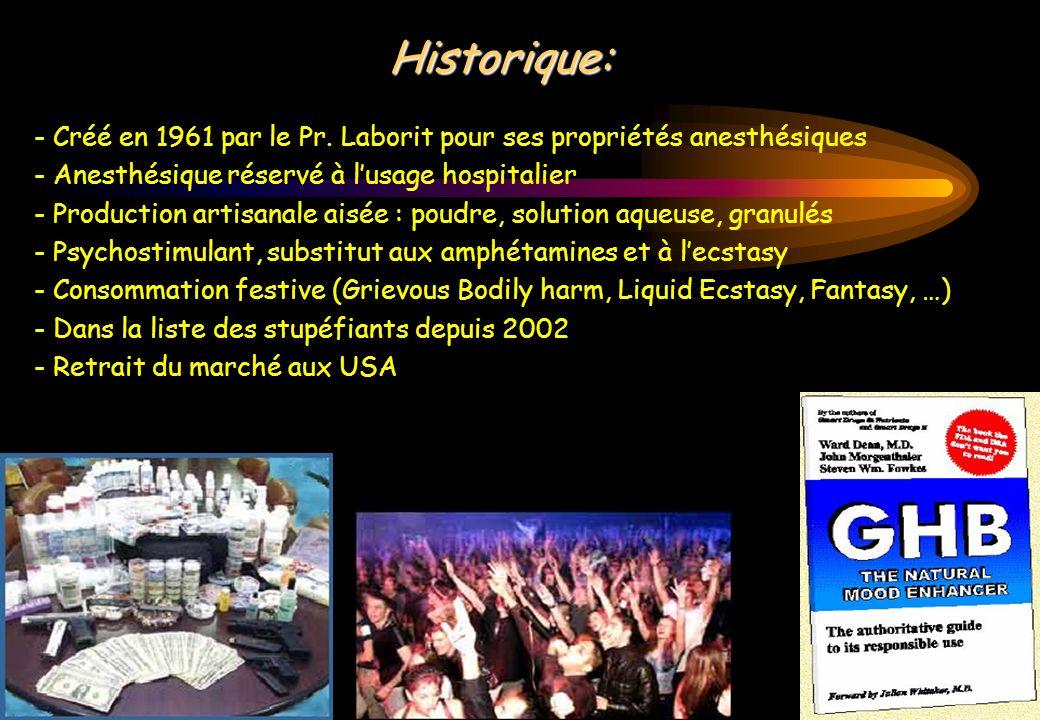 Historique: - Créé en 1961 par le Pr. Laborit pour ses propriétés anesthésiques - Anesthésique réservé à lusage hospitalier - Production artisanale ai