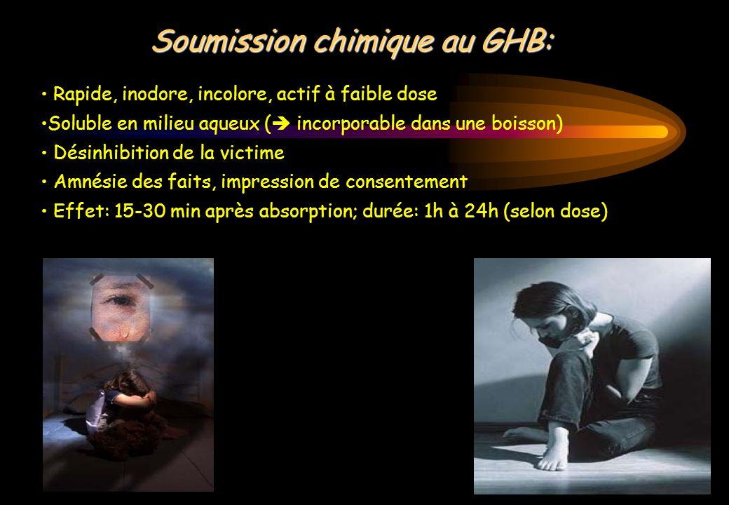 Soumission chimique au GHB: Rapide, inodore, incolore, actif à faible dose Soluble en milieu aqueux ( incorporable dans une boisson) Désinhibition de