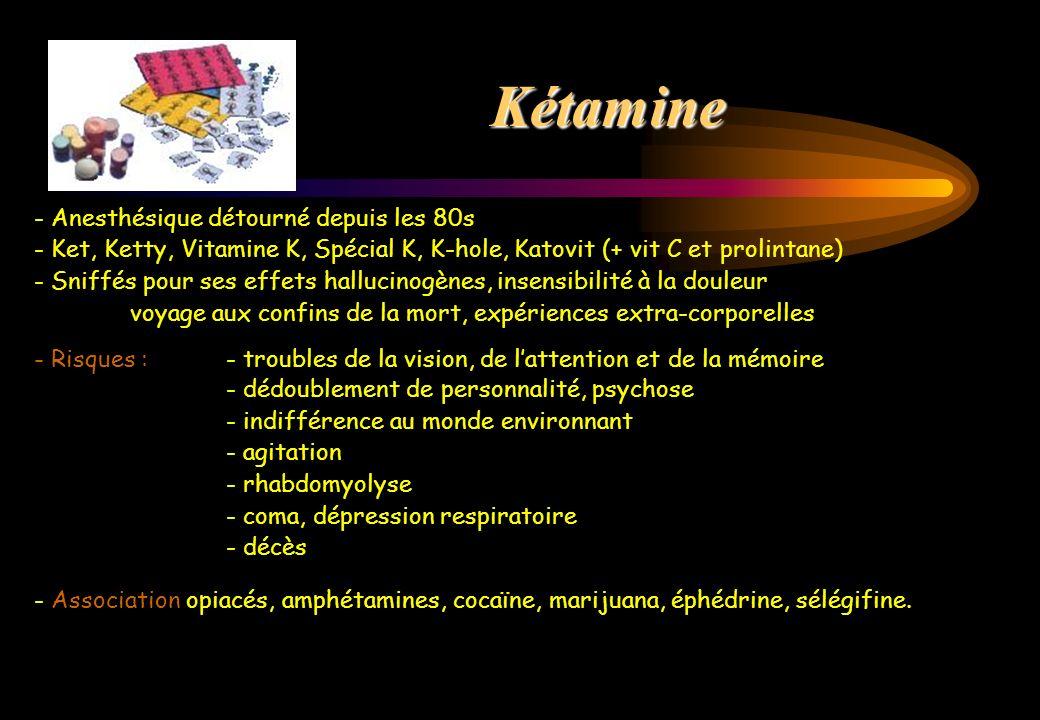 - Anesthésique détourné depuis les 80s - Ket, Ketty, Vitamine K, Spécial K, K-hole, Katovit (+ vit C et prolintane) - Sniffés pour ses effets hallucin