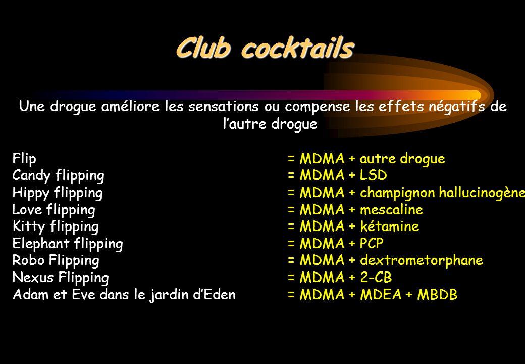Club cocktails Une drogue améliore les sensations ou compense les effets négatifs de lautre drogue Flip = MDMA + autre drogue Candy flipping= MDMA + L