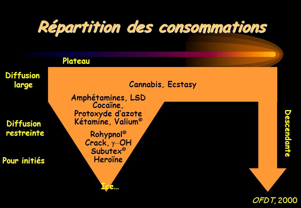 Répartition des consommations Cannabis, Ecstasy Amphétamines, LSD Cocaïne, Protoxyde dazote Kétamine, Valium ® Rohypnol ® Crack, OH Subutex ® Heroïne