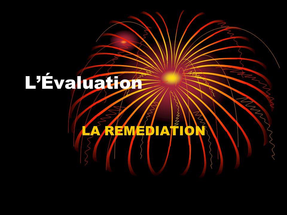 I-RAPPEL IMPORTANT Lévaluation nest pas une fin en soi.
