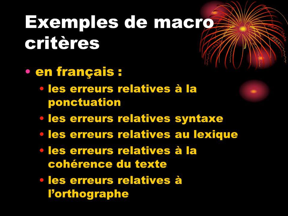 Exemples de macro critères en français : les erreurs relatives à la ponctuation les erreurs relatives syntaxe les erreurs relatives au lexique les err