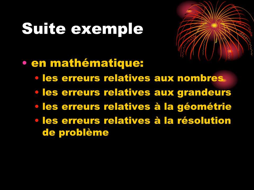 Suite exemple en mathématique: les erreurs relatives aux nombres les erreurs relatives aux grandeurs les erreurs relatives à la géométrie les erreurs