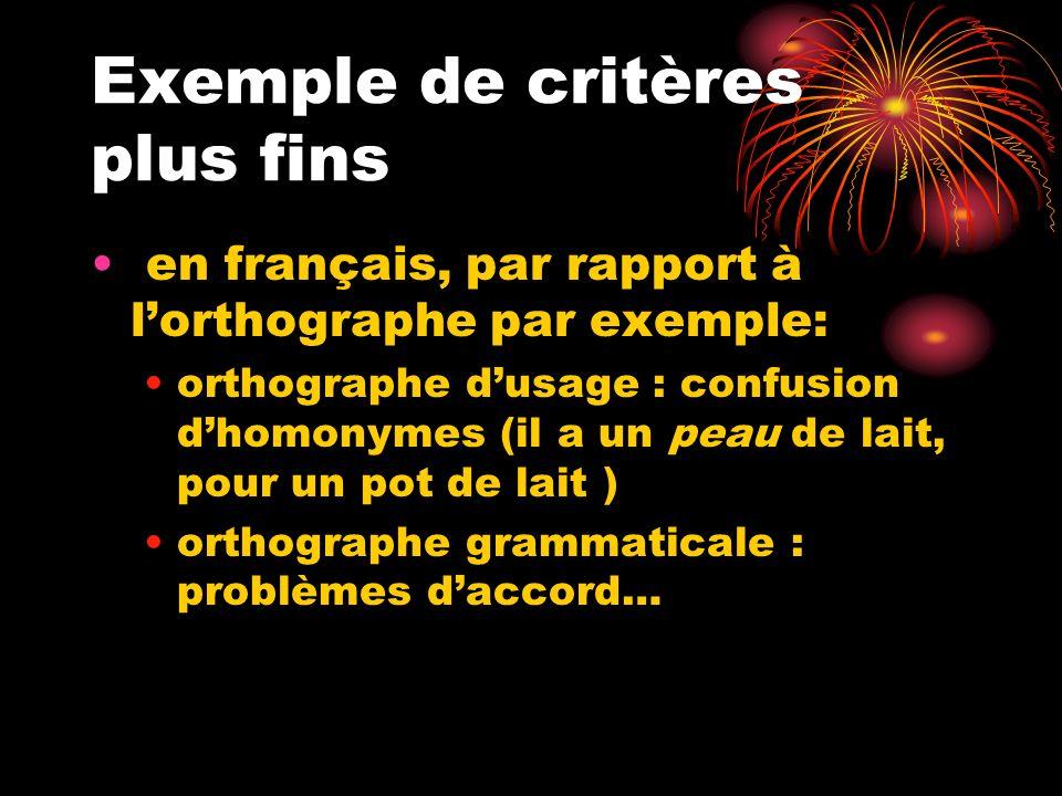 Exemple de critères plus fins en français, par rapport à lorthographe par exemple: orthographe dusage : confusion dhomonymes (il a un peau de lait, po