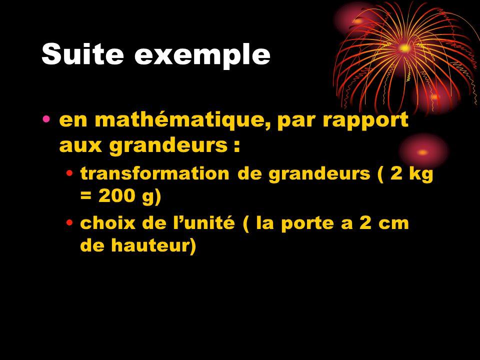 Suite exemple en mathématique, par rapport aux grandeurs : transformation de grandeurs ( 2 kg = 200 g) choix de lunité ( la porte a 2 cm de hauteur)